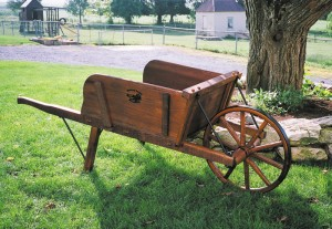Wooden wheelbarrow Photo Credit: Spring Valley Woodworking