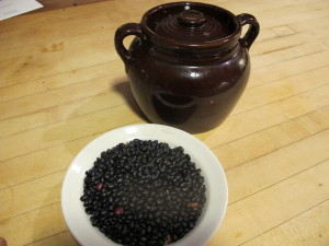 Dry beans from Henry's garden, and bean pot
